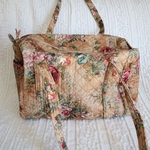 Quilted floral duffel travel bag